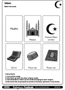 Islam Card Matching Game Worksheet