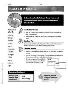 Islands of Indonesia Worksheet
