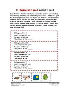 It Begins with an A  Activity Card Worksheet