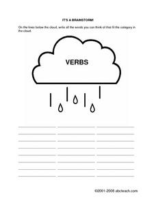 It's a Brainstorm- Verbs Worksheet