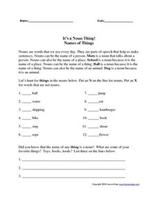 It's a Noun Thing!--Names of Things Worksheet
