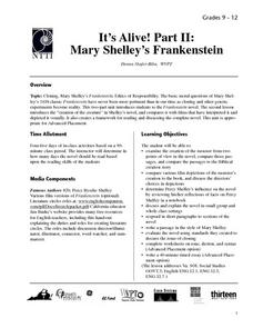 It's Alive! Part II: Mary Shelly's Frankenstein Lesson Plan