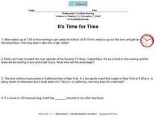 It's Time for Time Worksheet