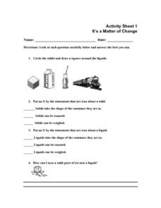 It's a Matter of Change Worksheet