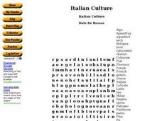 Italian Culture Word Search Worksheet