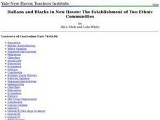 Italians and Blacks in New Haven: The Establishment of Two Ethnic Communities Lesson Plan