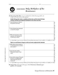 Italy: Birthplace of the Renaissance 9th - 10th Grade Worksheet ...