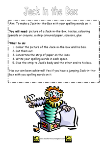Jack in the Box Spelling Activity Worksheet