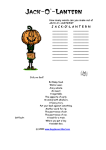 Jack-O-Lantern Word Challenge Worksheet