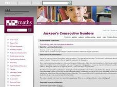 Jackson's Consecutive Numbers Lesson Plan