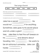 Jake and the Long A Sound Worksheet