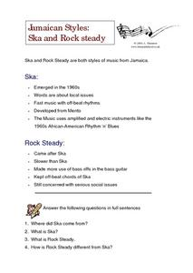 Jamaican Styles: Ska and Rock steady Worksheet