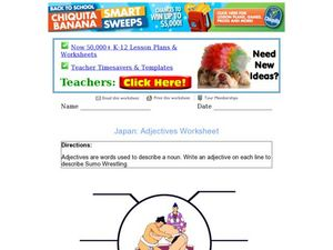 Japan: Adjectives Worksheet, Sumo Wrestling Worksheet