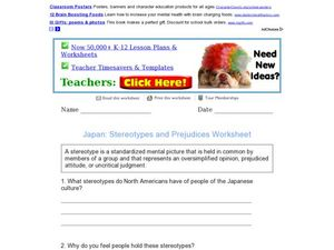 Japan: Stereotypes and Prejudices Worksheet Worksheet