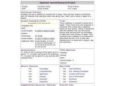 Japanese Journal Research Project Lesson Plan