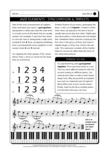 Jazz Elements - Syncopation and Triplets Worksheet