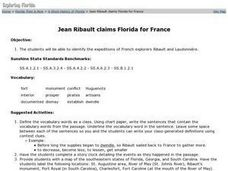 Jean Ribault claims Florida for France Lesson Plan