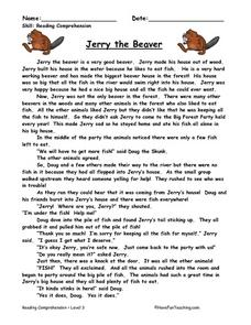 Jerry the Beaver: Reading Comprehension Worksheet