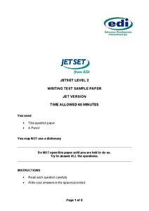 JET SET Reading and Writing Worksheet