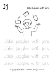 Jj- Jake Juggles With Jars Printing Practice Lesson Plan