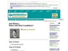 Job Hiring...Who's the best candidate? Lesson Plan