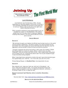 Joining Up - The First World War Worksheet