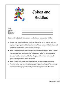 jokes and riddles 4th 6th grade worksheet lesson planet. Black Bedroom Furniture Sets. Home Design Ideas