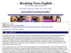 Journalism Becoming Deadlier Worksheet