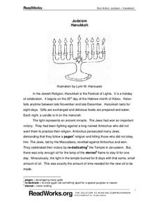 judaism hanukkah 5th grade worksheet lesson planet. Black Bedroom Furniture Sets. Home Design Ideas