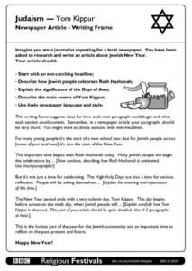 Judaism - Yom Kippur Newspaper Article Writing Frame Worksheet