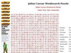 Printables Julius Caesar Worksheets julius caesar wordsearch puzzle 9th 12th grade worksheet worksheet