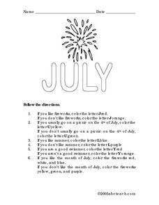 July Following Directions Activity Lesson Plan