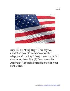 June 14 - Flag Day Worksheet