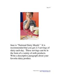 June 17 - National Dairy Month Worksheet