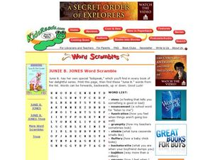 Junie B. Jones Word Scramble Lesson Plan
