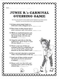 Junie B.'s Carnival Guessing Game Worksheet