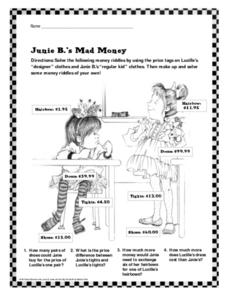 Junie B.'s Mad Money Worksheet