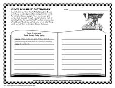 Junie B.'s Silly Dictionary Worksheet