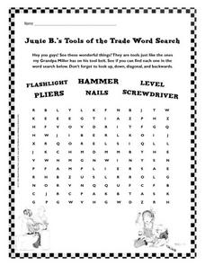 Junie B.'s Tools of the Trade Word Search Worksheet