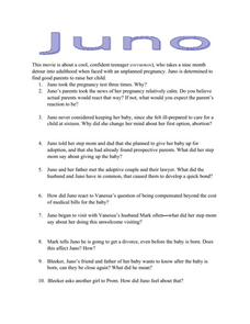 juno movie questions 9th 12th grade worksheet lesson planet. Black Bedroom Furniture Sets. Home Design Ideas