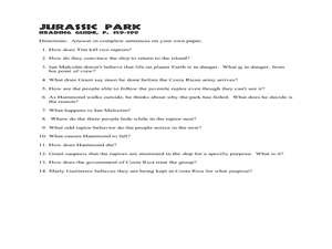 jurassic park reading guide 6th 8th grade worksheet lesson planet. Black Bedroom Furniture Sets. Home Design Ideas