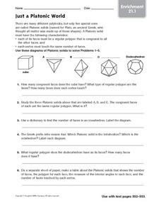 Just a Platonic World: Enrichment Worksheet