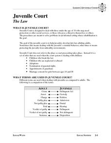 Juvenile Court - The Law Lesson Plan