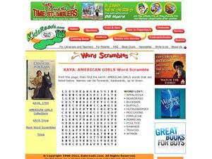 KAYA: AMERICAN GIRLS Word Scramble Lesson Plan