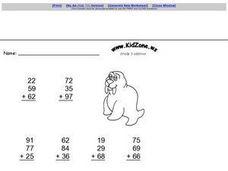 Kid Zone Grade 3 Addition Worksheet