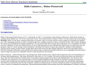 Kids Conserve? Water Preserved Lesson Plan
