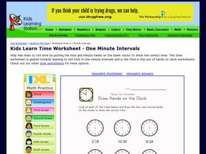 Kids Learn Time Worksheet - One Minute Intervals, Version 2 Worksheet