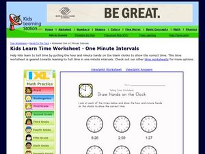 Kids Learn Time Worksheet - One Minute Intervals Worksheet