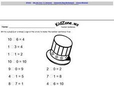 KidZone.ws Math/ Number Sentences Worksheet