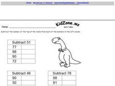 KidZone.ws Math Tables Worksheet